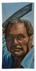 Robert Shaw In Jaws Hand Towel by Paul Meijering