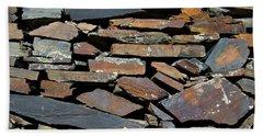 Hand Towel featuring the photograph Rock Wall Of Slate by Bill Gabbert