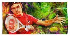 Roger Federer Hand Towel by RochVanh