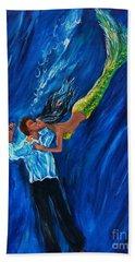 Romantic Rescue Hand Towel by Leslie Allen