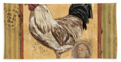 Rooster And Stripes Hand Towel by Debbie DeWitt
