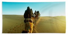 Row Of People Riding Camels Hand Towel by Panoramic Images