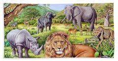 Saharan Animal Gathering Hand Towel by Mark Gregory