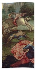 Saint George And The Dragon  Hand Towel by Jacopo Robusti Tintoretto