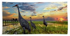 Sandhill Sunset Hand Towel by Debra and Dave Vanderlaan