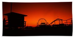 Santa Monica Pier, Santa Monica Beach Hand Towel by Panoramic Images