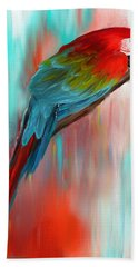 Scarlet- Red And Turquoise Art Hand Towel by Lourry Legarde