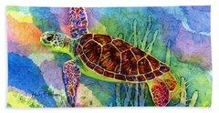 Sea Turtle Hand Towel by Hailey E Herrera