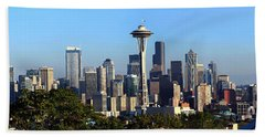 Seattle City Skyline And Downtown Hand Towel by Panoramic Images