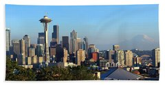 Seattle City Skyline With Mt. Rainier Hand Towel by Panoramic Images