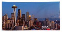 Seattle Winter Evening Panorama Hand Towel by Inge Johnsson