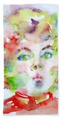 Shirley Temple - Watercolor Portrait.2 Hand Towel by Fabrizio Cassetta