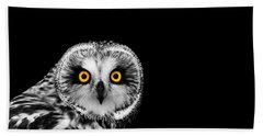 Short-eared Owl Hand Towel by Mark Rogan