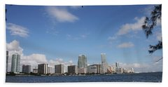 Skyline Miami Hand Towel by Christiane Schulze Art And Photography