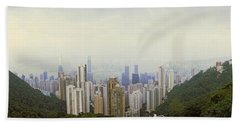 Skyscrapers In A City, Hong Kong, China Hand Towel by Panoramic Images
