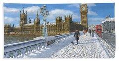 Snow On Westminster Bridge Hand Towel by Richard Harpum