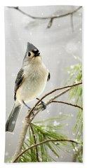 Snowy Songbird Hand Towel by Christina Rollo