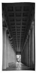 Soldier Field Colonnade Chicago B W B W Hand Towel by Steve Gadomski