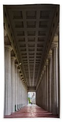 Soldier Field Colonnade Hand Towel by Steve Gadomski