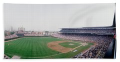 Spectators Watching A Baseball Mach Hand Towel by Panoramic Images