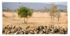 Spotted Hyenas Crocuta Crocuta Hand Towel by Panoramic Images