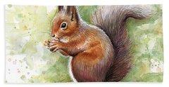 Squirrel Watercolor Art Hand Towel by Olga Shvartsur