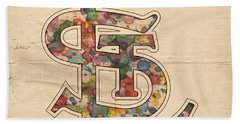 St Louis Cardinals Logo Vintage Hand Towel by Florian Rodarte