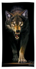 Stalking Wolf Hand Towel by MGL Studio - Chris Hiett