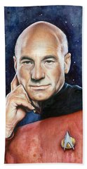 Captain Picard Portrait Hand Towel by Olga Shvartsur