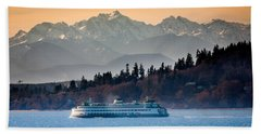 State Ferry And The Olympics Hand Towel by Inge Johnsson