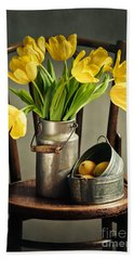 Still Life With Yellow Tulips Hand Towel by Nailia Schwarz