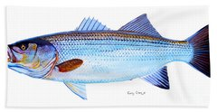 Striped Bass Hand Towel by Carey Chen