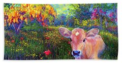 Such A Contented Cow Hand Towel by Jane Small