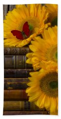 Sunflowers And Old Books Hand Towel by Garry Gay