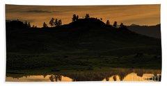 Hand Towel featuring the photograph Sunrise Behind A Yellowstone Ridge by Bill Gabbert