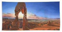 Sunset At Delicate Arch Utah Hand Towel by Richard Harpum