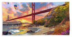 Sunset At Golden Gate Hand Towel by Dominic Davison