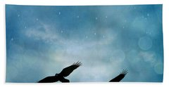 Surreal Ravens Crows Flying Blue Sky Stars Hand Towel by Kathy Fornal