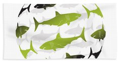 Swimming Green Sharks Around The Globe Hand Towel by Amy Kirkpatrick