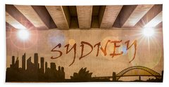 Sydney Graffiti Skyline Hand Towel by Semmick Photo