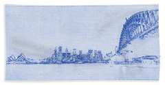 Sydney Skyline Blueprint Hand Towel by Kaleidoscopik Photography