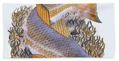 Tailing Redfish Hand Towel by Carey Chen