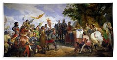 The Battle Of Bouvines Hand Towel by Emile Jean Horace Vernet