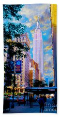 The Empire State Building Hand Towel by Jon Neidert