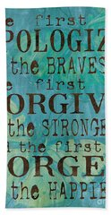 The First To Apologize Hand Towel by Debbie DeWitt