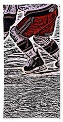 The Hockey Player Hand Towel by Karol Livote