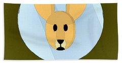The Kangaroo Cute Portrait Hand Towel by Florian Rodarte