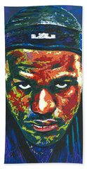 The Lebron Death Stare Hand Towel by Maria Arango