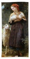 The Newborn Lamb Hand Towel by William Bouguereau