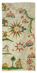 The North African Coast, From A Nautical Atlas, 1651 Ink On Vellum Detail From 330919 Hand Towel by Pietro Giovanni Prunes